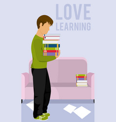 young man with books on room vector image