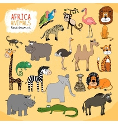 Animals of Africa hand-drawn vector image