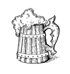 beer mug engraving style vector image vector image
