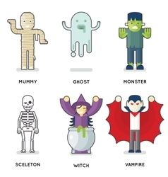 Halloween Party Monster Roles Characters Icons Set vector image
