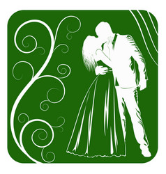 silhouettes of kissing bride and groom on abstract vector image vector image