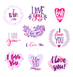 i love you calligraphy text phrases valentine day vector image