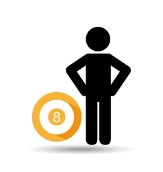 Man hands on waist with pool ball icon vector