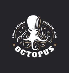 octopus logo - emblem design vector image vector image