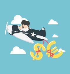 businessman flying a plane have money dollar vector image