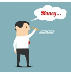 Businessman is dreaming about money vector image