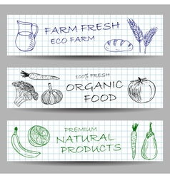Hand drawn farm banners vector image vector image