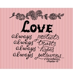 Hand lettering love always made next to the vector