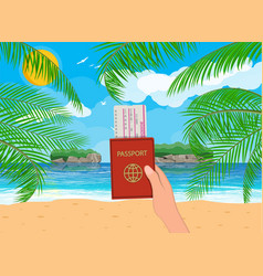 landscape of palm tree on beach documents vector image