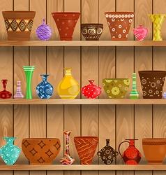 modern vases and floral pots for sale on shelves vector image