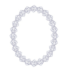 silver chain rose - oval frame on a white vector image vector image