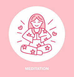 smiling girl in padmasana yoga line logo icon of vector image