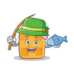 fishing waffle character cartoon design vector image vector image
