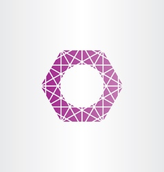 Purple hexagon polygon frame vector