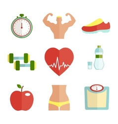 Set of flat health and sport icons vector image vector image