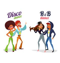 two cartoon couples dancing dance in disco vector image