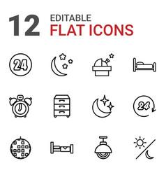 12 night icons vector