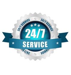 24-7 service button vector image
