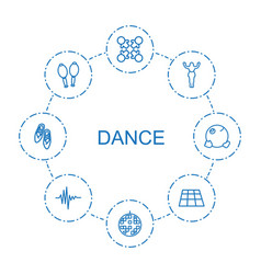 8 dance icons vector image