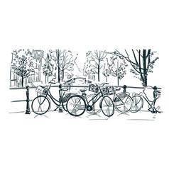 Amsterdam bicycles sketch line sketch vector
