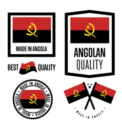angola quality label set for goods vector image