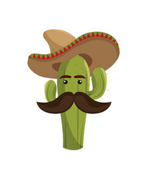 Animated sketch cactus with mexican hat and vector
