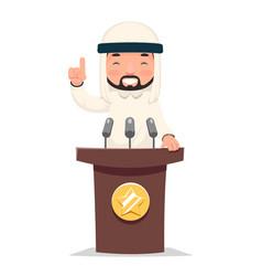 arab politician tribune performance businessman vector image