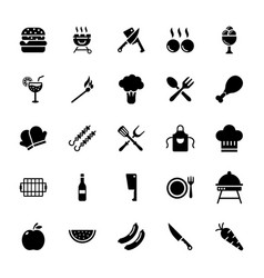 Barbeque grill glyph icons set vector