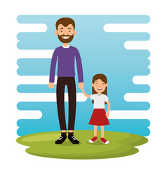 Best father with daughter avatars vector