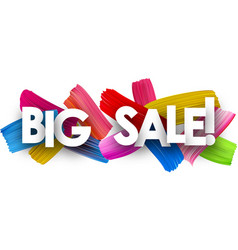 big sale banner with brush strokes vector image