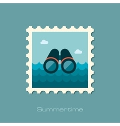 Binoculars flat stamp vector image