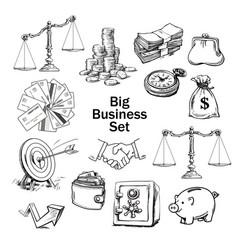 Black and white sketchof business set vector