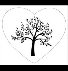 Black tree in heart shape vector