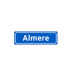 blue and white city sign of almere vector image