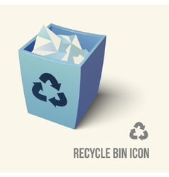Blue color recycle bin icon vector