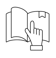 book with hand pointing vector image