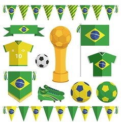 brazil soccer objects vector image vector image