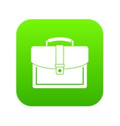 business briefcase icon digital green vector image