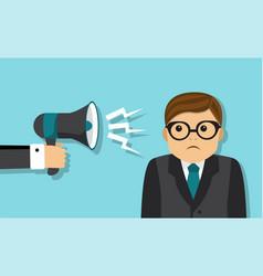 businessman scolded into a megaphone vector image