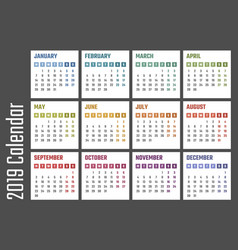 calendar for 2019 starts monday calendar vector image