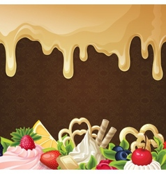 Caramel sweets background vector image