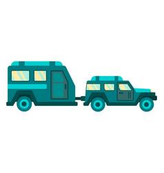 cartoon camper trailer and car travel card design vector image