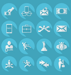 Collection set flat icons business theme vector