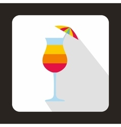 Colorful layered cocktail with umbrella icon vector image
