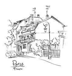 cozy paris street france vector image