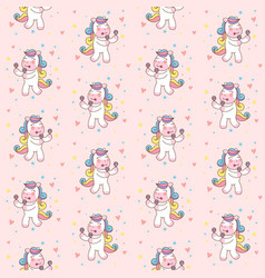 cute unicorn horse playing maracas seamless vector image