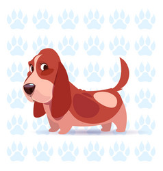Dog basset hound happy cartoon sitting over vector