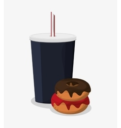 Donut and soda of fast food concept vector