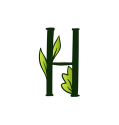Doodling eco alphabet letter htype with leaves vector