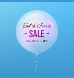 end of season sale sign sale and balloon isolated vector image vector image